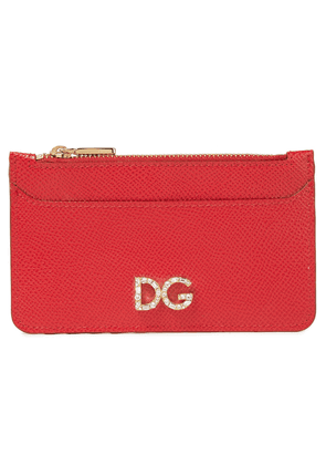 Dolce & Gabbana Crystal-embellished Textured-leather Cardholder Woman Red Size --