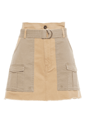 Frame Belted Two-tone Cotton-blend Twill Mini Skirt Woman Sand Size 27