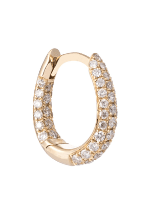 Inside Out 14kt gold single hoop earring with pavé diamonds