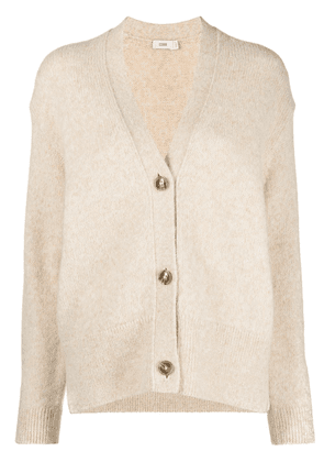 Closed V-neck long-sleeve cardigan - Neutrals