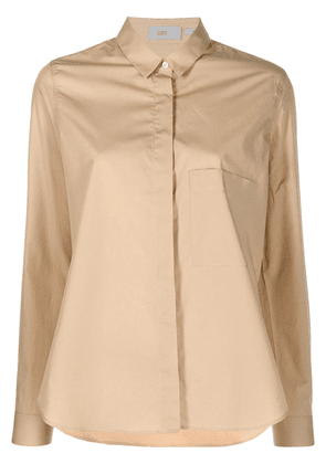 Closed concealed-fastening cotton shirt - Neutrals