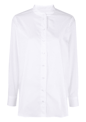 Closed collarless button-up shirt - White