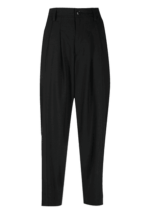 Closed dropped-crotch cropped trousers - Black