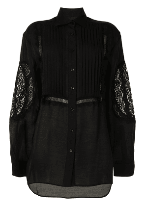Cynthia Rowley Riley lace-trim tuxedo shirt - Black