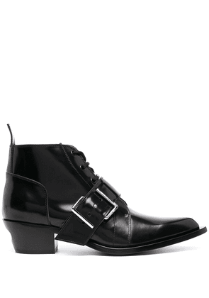 Off-White buckle-detail lace-up boots - Black