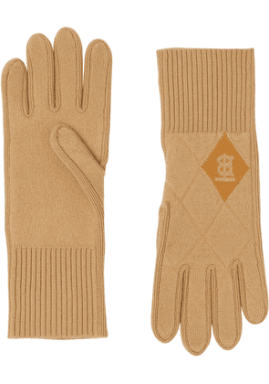 Burberry TB monogram-motif diamond-quilted gloves - Neutrals