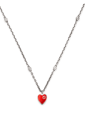 Gucci Interlocking G heart pendant necklace - Silver