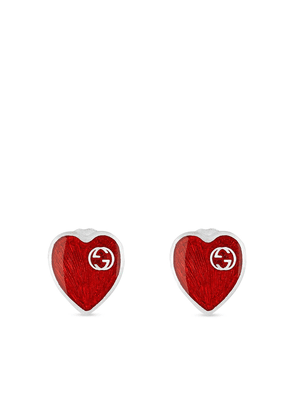 Gucci GG logo heart earrings - Red