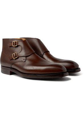 George Cleverley - Fry Pebble-Grain Leather Monk-Strap Boots - Men - Brown