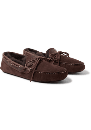QUODDY - Fireside Leather-Trimmed Shearling-Lined Suede Slippers - Men - Brown