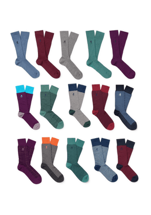 London Sock Co. - 15-Pack Ribbed Stretch Cotton-Blend Socks - Men - Multi