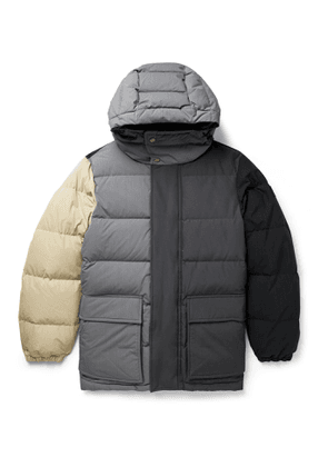Aimé Leon Dore - Woolrich Quilted Colour-Block Ripstop, Shell and Faille Hooded Down Jacket - Men - Gray