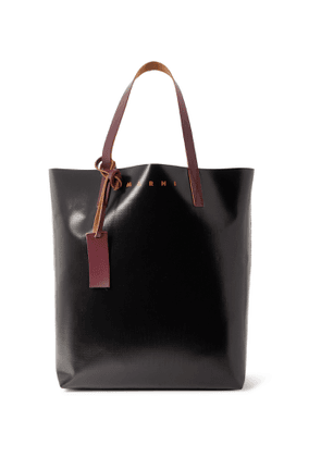 MARNI - Leather-Trimmed Colour-Block Coated-Canvas Tote Bag - Men - Brown