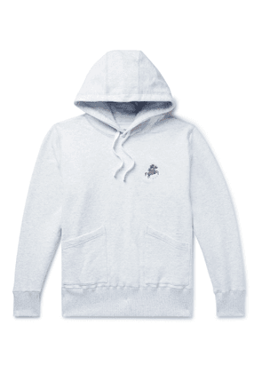 Aimé Leon Dore - Drake's Logo-Embroidered Mélange Loopback Cotton-Jersey Hoodie - Men - Gray
