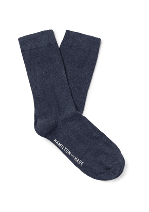 Hamilton and Hare - Everyday Logo-Embroidered Mélange Cotton Socks - Men - Blue