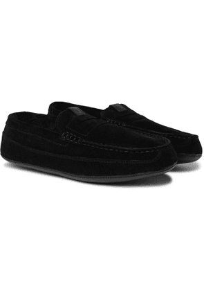 GRENSON - Sly Shearling-Lined Suede Slippers - Men - Black