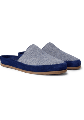 Mulo - Hamilton and Hare Suede-Trimmed Striped Cotton Slippers - Men - Blue