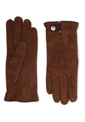 Brunello Cucinelli - Shearling-Lined Perforated Suede Gloves - Men - Brown