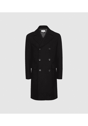 Reiss Caleb - Double Breasted Overcoat in Black, Mens, Size M