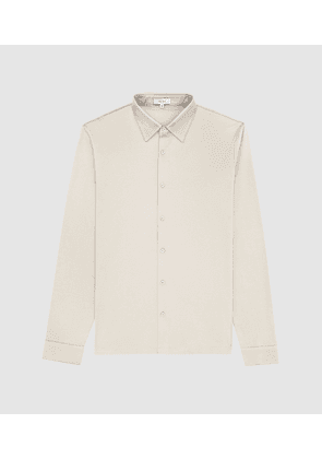 Reiss Chapter - Mercerised Cotton Shirt in Stone, Mens, Size S