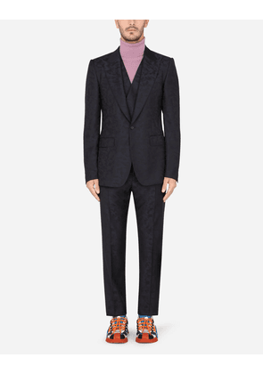 Dolce & Gabbana Suits - WOOL JACQUARD SICILIA-FIT SUIT WITH CAMOUFLAGE PRINT MULTICOLOR male 46