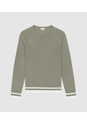 Reiss Handsome - Tipped Crew Neck Jumper in Sage, Mens, Size S