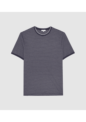 Reiss Greenwich - Striped Crew Neck T-shirt in Navy/White, Mens, Size S