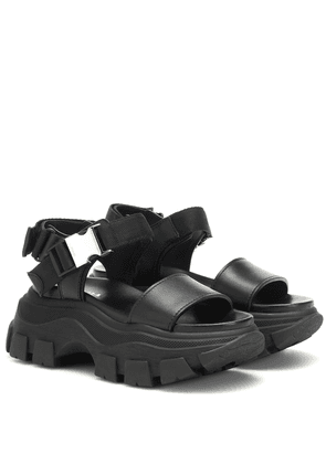 Block leather-trimmed sandals