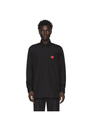 Comme des Garcons Play Black and Red Heart Patch Shirt