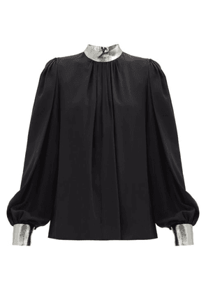 Andrew Gn - Lamé-trimmed Silk-blend Crepe Blouse - Womens - Black Silver