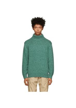 BEAMS PLUS Green Wool and Cashmere Turtleneck