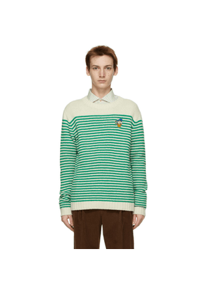 Gucci Beige and Green Disney Edition Striped Donald Duck Sweater
