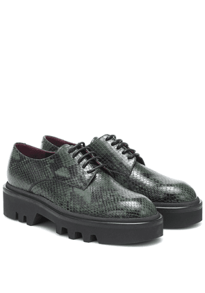 Snake-effect leather Derby shoes