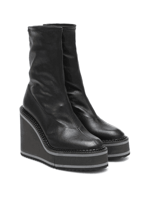 Bliss leather wedge ankle boots