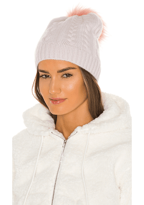 White + Warren Cable Beanie With Faux Pom in Cream.