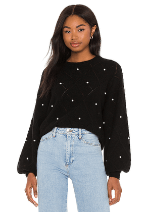 Autumn Cashmere Puff Sleeve Pointelle With Pearls Sweater in Black. Size S, XS.
