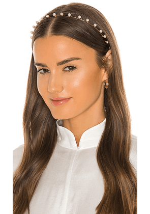 Jennifer Behr Iris Pearl Headband in White.