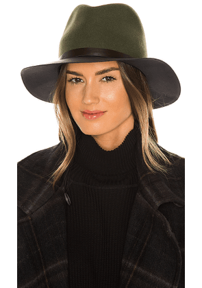 Rag & Bone Floppy Leather Brim Hat in Olive. Size M, S.