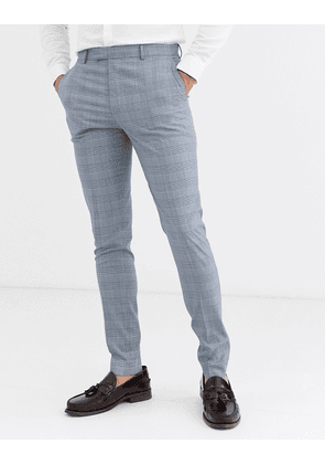 ASOS DESIGN super skinny suit trousers in dusky blue puppytooth check