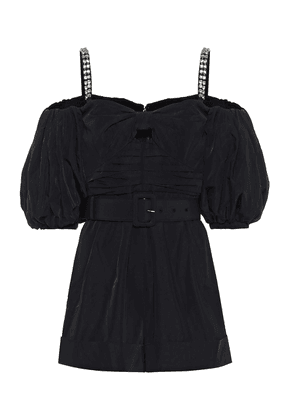 Embellished taffeta playsuit