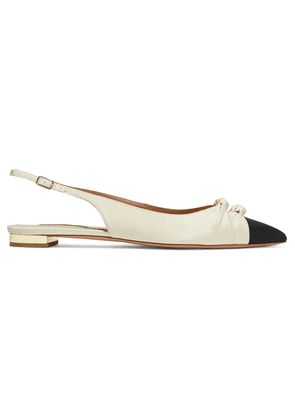 Aquazzura Mondaine Two-tone Grosgrain Slingback Point-toe Flats Woman Ivory Size 35