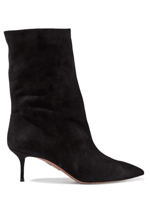 Aquazzura Very Boogie 60 Suede Ankle Boots Woman Black Size 36.5