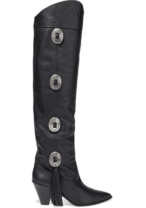 Aquazzura Go West 70 Buckle-embellished Leather Over-the-knee Boots Woman Black Size 36.5