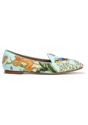 Aquazzura + De Gournay Amazonia Embroidered Printed Crepe Loafers Woman Mint Size 34