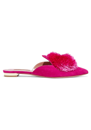 Aquazzura Powder Puff Pompom-embellished Suede Slippers Woman Fuchsia Size 34
