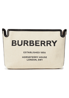 Burberry Leather-trimmed Printed Canvas Pouch Woman Cream Size --
