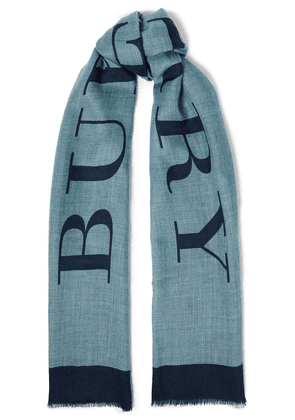 Burberry Printed Cashmere Scarf Woman Grey green Size --