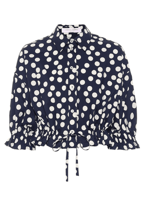 Polka-dot stretch-cotton crop top