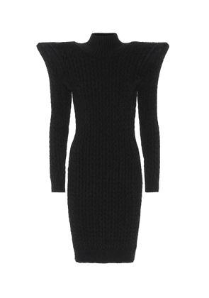 Pagoda cable-knit chenille minidress