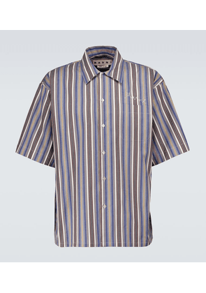 Striped cotton short-sleeved shirt